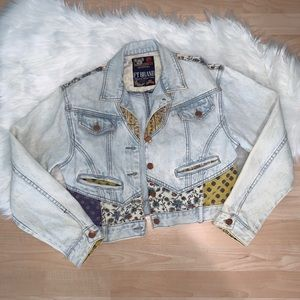 Vintage | Denim Patchwork Crop Jacket Size Small